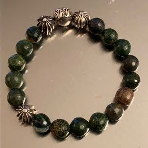 Preowned chrome hearts balls with green agate